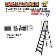 DR LADDER PL-SFY07 FIBREGLASS PLATFORM STEP LADDER - (7 STEPS)