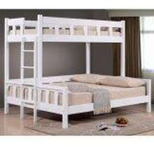 Furniturerun Jewel White Solid Wood Single over Queen Bunk Bed. Space saving for the small apartments. Available in Klang valley only including installation..