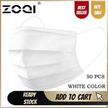 ZOQI 50 Pcs 3 Masker Wajah Ply untuk Orang Dewasa Putih Masker Wajah dengan Desain