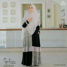Jasmine Syahira Dress Set Khimar Safwa Original Gamis Brukat Renda Set Hijab Black Raisin Apricot