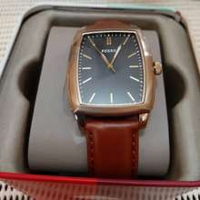 Fossil Women Square Watch With Leather Strap