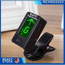 Joyo [Fast & Free Delivery] ~ Jt-01 Guitar Tuner Black Bass Violin Acoustic Guitar Tuner Clip On 360 Degree