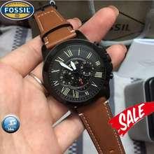 Fossil Leather Watch For Men Original Pawanble Fs5241 Smart Watch Men Women Authentic Analog (Black Brown)