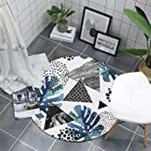 HomE Wxhdxf Blue Non-Slip Carpet Home Round Rugs Creative Banana Leaf Bedside Floor Mat Super Soft Door Mat (Size : 160Cm/62.99In)