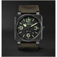 BELL & ROSS - BR 03-92 Nightlum Automatic 42mm Ceramic and Leather Watch, Ref. No. BR0392-BL3-CE/SCA - Men - Black