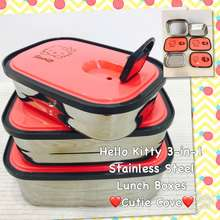 Hello Kitty 3-In-1 Stainless Steel Lunch Boxes