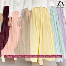 Zoe Arissa Plain Pleated Skirt Labuh Za Style Zaleeqa Pleated Skirt Maxi Cotton Long Casual Muslimah Readystock Flowy Elastic Waist