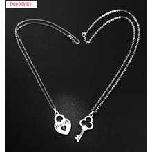 Dây chuyền cặp đôi inox Đẹp Mà Rẻ ổ khóa hình trái tim Love và chìa khóa khắc chữ Forever Giá bán như trên là 1 cặp như hình - Cam kết 1 đổi 1 nếu hoen gỉ sét
