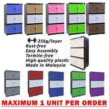 Eagle 3 Tier Diy Plastic Storage Cabinet Almari Baju Almari Plastik Serbaguna [Limit 1 Unit To 1 Order]
