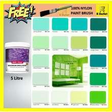 SANCORA 【5 Litre】 Magnum Emulsion Exterior Or Interior Paints (Green) / Cat Simen Dinding (ME1141 Spring Splash, 5L)