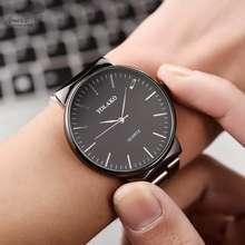 Amart ผู้ชายนาฬิกาควอตซ์รอบ Dial นาฬิกาข้อมือสายเหล็กสำหรับเดินทางธุรกิจ