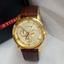 Titan Jam Tangan Pria 1618Yl01 Gold Leather Brown Original