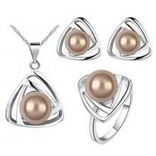 Elegant Lrc Perhiasan Set Pearls Decorated Triangle Shape Jewelry Sets