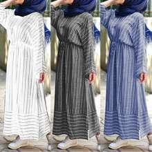 Zanzea Women Casual Drawstring Button Down Back Striped Muslim Dress
