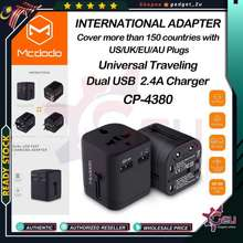 Mcdodo Original Cp-4380 International Travel Power 2.4A Adapter Dual Usb & Worldwide For Uk, Us, Au, Europe