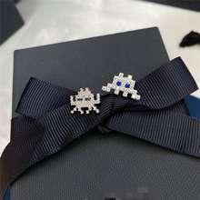 apm monaco Sterling Silver Zircon Pac Man Design Fashion Stud Earrings for Women