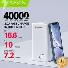 Bavin 40000Mah Powerbank 3A Output W/ 3 Usb Output 1 Type-C 3A For In/Output Digital Power Indicator