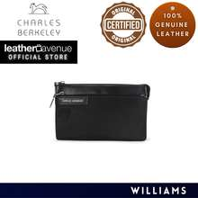 Charles Berkeley Williams Men'S Cross Body Sling Bag Clutch Pouch Water Resistant Nylon Mix Calf Leather (Pb-19079)