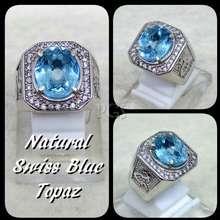 cincin batu Akik Permata Natural Swiss Blue Topaz London Ring Alpaka Super Mewah Glamour Indah Mempesona Pasti Mantap Boss !!!