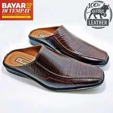 Y-3 Sepatu Sandal Slop Pria 100% Kulit Sapi Asli Tekstur Serat Kayu Bustong Ready Size Jumbo 44 45 46