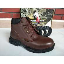HAMMER KING Safety Shoes Boots Steel Toe Cap Steel Mid Plate Mid Cut Dual Zipper Premium Genuine Leather (Brown, UK:6)