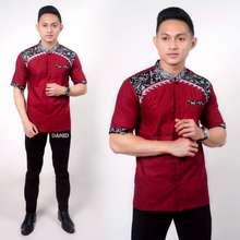 Koko Bordir Batik Kombinasi Atasan Batik Pria Ombak Merah Xl