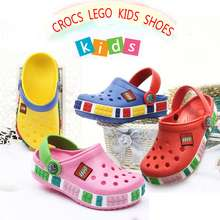 High Quality Children Crocs Lego Shoes Kids Summer Cartoon Beach Swimming Shoe For Boys Girls Soft Non Slip