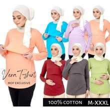 MOF [Ready Stock] 100% Cotton Long Sleeve Maternity Top Nursing T-Shirt Breastfeeding Baju Menyusu Mengandung Mf003