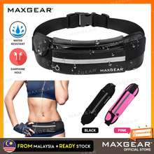 MAXGear Waterproof Running Waist Bag Outdoor Sports Belt Pouch Wallet with Bottle Holder & Earphone Port Beg for Gym Cycling Hiking Jogging Marathon