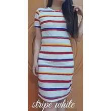 Hoziro REAL PICTURE Dress Alina / Dress / Midi Dress / Shift Dress / Dress Salur / Dress Stripe / Dress Wanita Terbaru