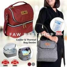 Baby 2 Go Cooler Bag Asi Besar Thermal Free Ice Gel B2T3114 / Cooler Bag Denim B2T3114