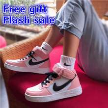 Nike 【Lowest Price】 Aj Air Force 1 Ulzzang Women Sneakers High-Top Shoes Chic Sports White Shoes Ready Stock