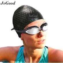 JvGood Topi Renang Swimming Cap Silicone Rambut Panjang Renang Topi Tahan  Air Silikon Hat Untuk Wanita c64cfa11d1