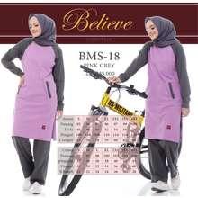 Believe Baju Olah Raga Muslimah BMS 18 Pink Grey (Int:S)