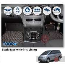 trapo Customize Car Floor Mat for Toyota Estima Aeras Premium (7 Seater) (2000-2005) (Black Base with Red LiningGrey LiningBlue LiningBlack Lining) Choose The Colour In Colour Family (Blk Base w Blk Line)