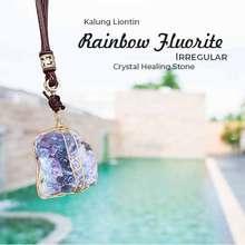 Rainbow Kalung Liontin Fluorite Irregular Lbp133