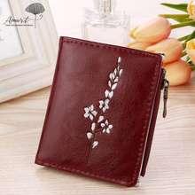 Amart Women Wallets Hasp Zipper Short Wallet Embroidery Flowers PU Coin Purse Money Bag