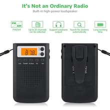 Rondaful Mini Radio Portable Stereo Pocket Speaker With Built-In Headphone Jack Am Fm Alarm Clock