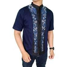 Gudang Fashion Kemeja Koko Lengan Pendek Pria Biru Tua