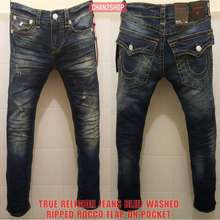 Long Jeans Pants New True Religion Rocco Relaxed Stretch Flap On Pocket Men Import Cool Casual