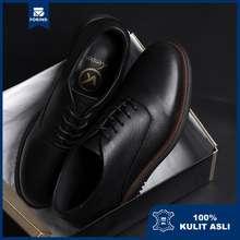 Kenzio London 2.0 Black   Sepatu Pantofel Kulit Asli Hitam Formal Kerja Pantopel Pria Ori   Forind X