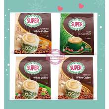 Super Coffee { Special Offer} Super Charcoal Roasted White Coffee Classic / Roasted Hazelnut/ Brown Sugar (15 Sachets)