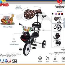 PMB Sepeda Roda Tiga BMX Safari Dorongan Kanopi Jagaan 722 Tricycle (Hitam)