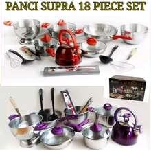 Supra PANCI 18 PC STAINLESS STEEL / PANCI STAINLESS STEEL SET / PANCI COOKWARE SET HIGH QUALITY by KHENZA STORE (Ungu)