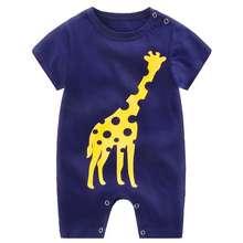 Summer Jol Infant Cartoon Printing Short Sleeve Jumpsuit Button Open-Crotch Romper For Babies Toddlers Navy Giraffe 9-12M 80Cm