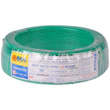 BCC สายไฟ THW 60227IEC01 1x1.5 ตร.มม. สีเขียว ไทย