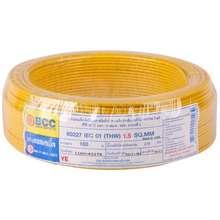 BCC สายไฟ THW 60227IEC01 1x1.5 ตร.มม. สีเหลือง ไทย
