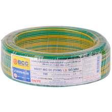 BCC สายไฟ THW 60227IEC01 1x1.5 ตร.มม. สีเขียวเหลือง ไทย